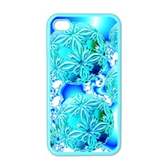 Blue Ice Crystals, Abstract Aqua Azure Cyan Apple iPhone 4 Case (Color)