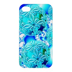 Blue Ice Crystals, Abstract Aqua Azure Cyan Apple Iphone 4/4s Hardshell Case