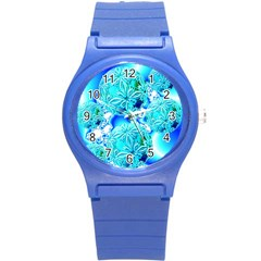 Blue Ice Crystals, Abstract Aqua Azure Cyan Round Plastic Sport Watch Small