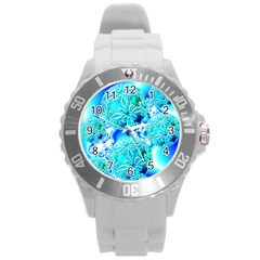 Blue Ice Crystals, Abstract Aqua Azure Cyan Round Plastic Sport Watch Large