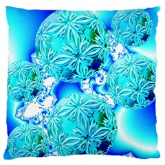 Blue Ice Crystals, Abstract Aqua Azure Cyan Large Cushion Case (One Side)