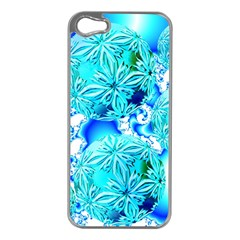 Blue Ice Crystals, Abstract Aqua Azure Cyan Apple iPhone 5 Case (Silver)
