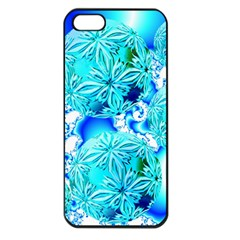 Blue Ice Crystals, Abstract Aqua Azure Cyan Apple Iphone 5 Seamless Case (black)