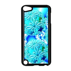 Blue Ice Crystals, Abstract Aqua Azure Cyan Apple iPod Touch 5 Case (Black)