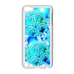Blue Ice Crystals, Abstract Aqua Azure Cyan Apple iPod Touch 5 Case (White)