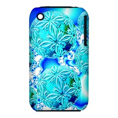 Blue Ice Crystals, Abstract Aqua Azure Cyan Apple iPhone 3G/3GS Hardshell Case (PC+Silicone)