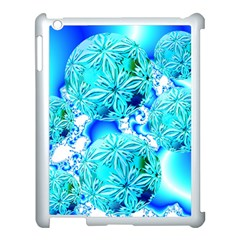 Blue Ice Crystals, Abstract Aqua Azure Cyan Apple iPad 3/4 Case (White)