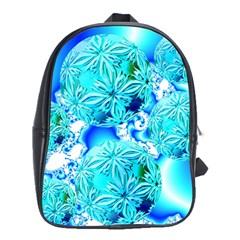 Blue Ice Crystals, Abstract Aqua Azure Cyan School Bag (XL)