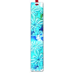 Blue Ice Crystals, Abstract Aqua Azure Cyan Large Book Mark