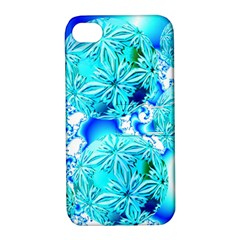 Blue Ice Crystals, Abstract Aqua Azure Cyan Apple iPhone 4/4S Hardshell Case with Stand