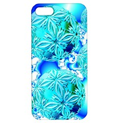 Blue Ice Crystals, Abstract Aqua Azure Cyan Apple iPhone 5 Hardshell Case with Stand