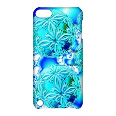 Blue Ice Crystals, Abstract Aqua Azure Cyan Apple Ipod Touch 5 Hardshell Case With Stand