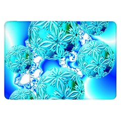 Blue Ice Crystals, Abstract Aqua Azure Cyan Samsung Galaxy Tab 8.9  P7300 Flip Case