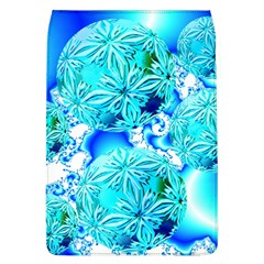 Blue Ice Crystals, Abstract Aqua Azure Cyan Removable Flap Cover (Large)
