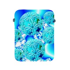 Blue Ice Crystals, Abstract Aqua Azure Cyan Apple iPad 2/3/4 Protective Soft Case