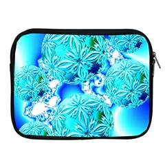 Blue Ice Crystals, Abstract Aqua Azure Cyan Apple Ipad 2/3/4 Zipper Case