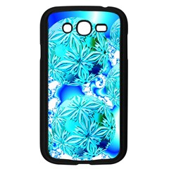 Blue Ice Crystals, Abstract Aqua Azure Cyan Samsung Galaxy Grand DUOS I9082 Case (Black)