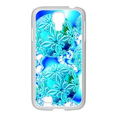 Blue Ice Crystals, Abstract Aqua Azure Cyan Samsung GALAXY S4 I9500/ I9505 Case (White)