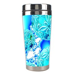 Blue Ice Crystals, Abstract Aqua Azure Cyan Stainless Steel Travel Tumbler