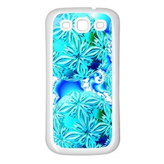 Blue Ice Crystals, Abstract Aqua Azure Cyan Samsung Galaxy S3 Back Case (white)