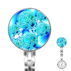 Blue Ice Crystals, Abstract Aqua Azure Cyan Stainless Steel Nurses Watch