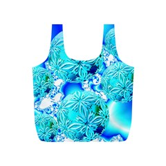 Blue Ice Crystals, Abstract Aqua Azure Cyan Full Print Recycle Bag (S)