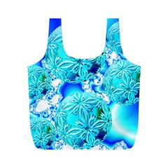 Blue Ice Crystals, Abstract Aqua Azure Cyan Full Print Recycle Bag (M)