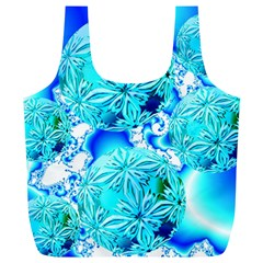 Blue Ice Crystals, Abstract Aqua Azure Cyan Full Print Recycle Bag (XL)
