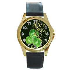 Clover Round Leather Watch (Gold Rim)