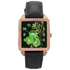 Clover Rose Gold Leather Watch