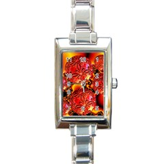 Flame Delights, Abstract Red Orange Rectangular Italian Charm Watch