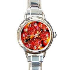 Flame Delights, Abstract Red Orange Round Italian Charm Watch