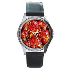 Flame Delights, Abstract Red Orange Round Leather Watch (Silver Rim)
