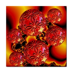 Flame Delights, Abstract Red Orange Ceramic Tile