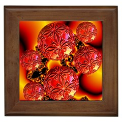 Flame Delights, Abstract Red Orange Framed Ceramic Tile