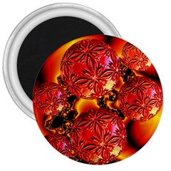 Flame Delights, Abstract Red Orange 3  Button Magnet