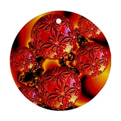 Flame Delights, Abstract Red Orange Round Ornament