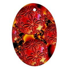 Flame Delights, Abstract Red Orange Oval Ornament