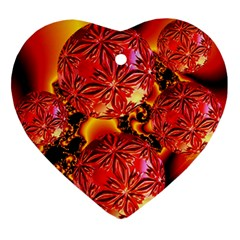 Flame Delights, Abstract Red Orange Heart Ornament