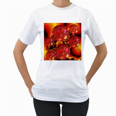 Flame Delights, Abstract Red Orange Women s Two-sided T-shirt (White)