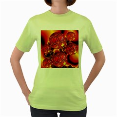Flame Delights, Abstract Red Orange Women s T-shirt (Green)