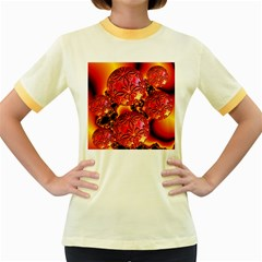 Flame Delights, Abstract Red Orange Women s Ringer T-shirt (Colored)