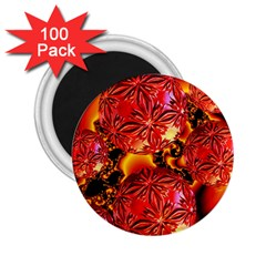 Flame Delights, Abstract Red Orange 2.25  Button Magnet (100 pack)