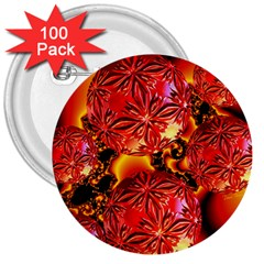 Flame Delights, Abstract Red Orange 3  Button (100 pack)