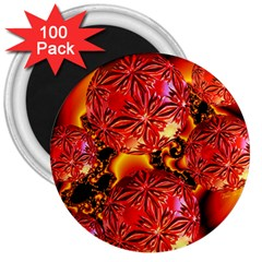 Flame Delights, Abstract Red Orange 3  Button Magnet (100 pack)
