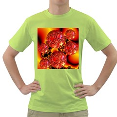 Flame Delights, Abstract Red Orange Men s T-shirt (Green)