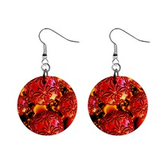 Flame Delights, Abstract Red Orange Mini Button Earrings