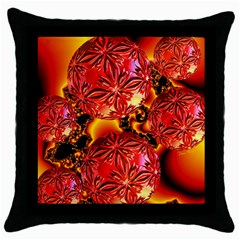 Flame Delights, Abstract Red Orange Black Throw Pillow Case
