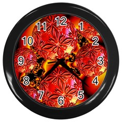Flame Delights, Abstract Red Orange Wall Clock (Black)