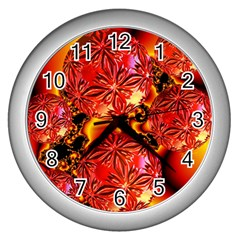 Flame Delights, Abstract Red Orange Wall Clock (Silver)